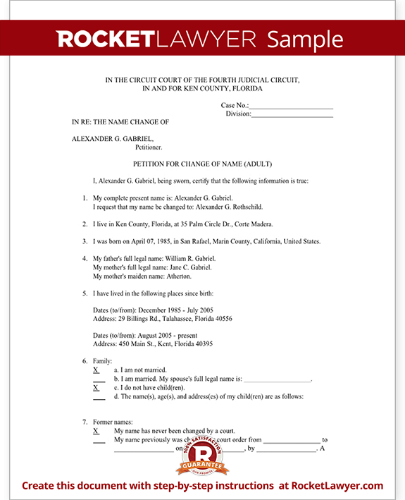 Florida Name Change Petition and Order (Form With Sample)