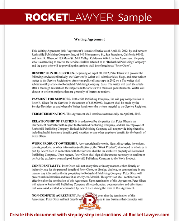 lance writer contract template sample sample lance writer contract form template test