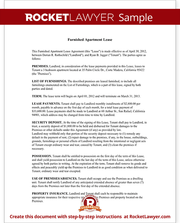 Furnished Apartment Rental Lease Agreement With Sample