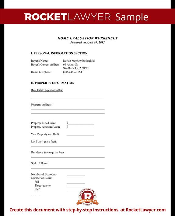 Home Evaluation Worksheet (Form With Sample)