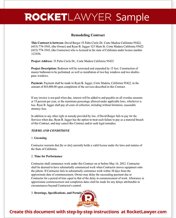 Sample Home Improvement Contract Form Template Test.  Project Contract Template