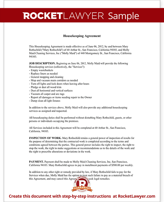 Housekeeping Contract Agreement Template with Sample – Cleaning Contract Template