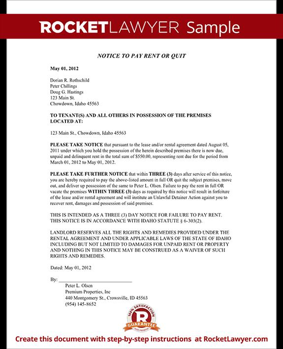 Idaho Eviction Notice Form Idaho Eviction Notice Sample
