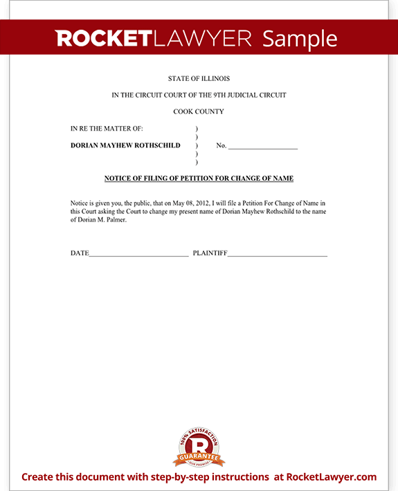 Illinois Name Change Petition and Order (Form With Sample)