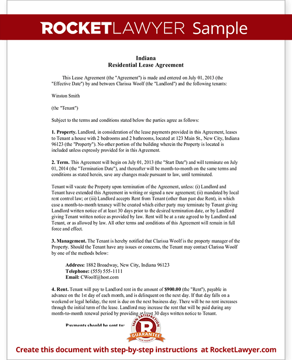 Indiana Lease Agreement