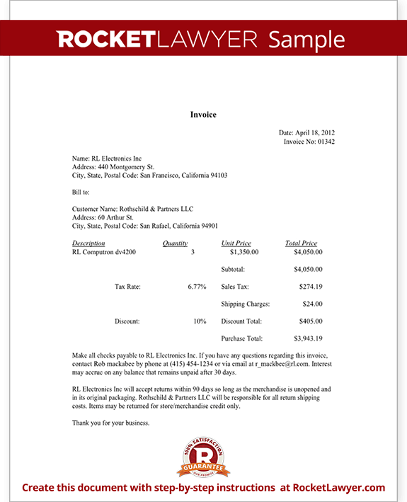 attorney invoice template  Invoice Template - Sample Invoice Document   Rocket Lawyer