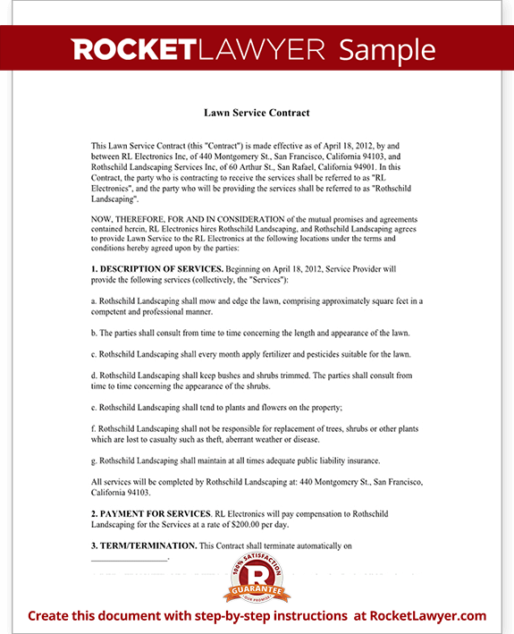 Sample Lawn Service Contract Form Template Test