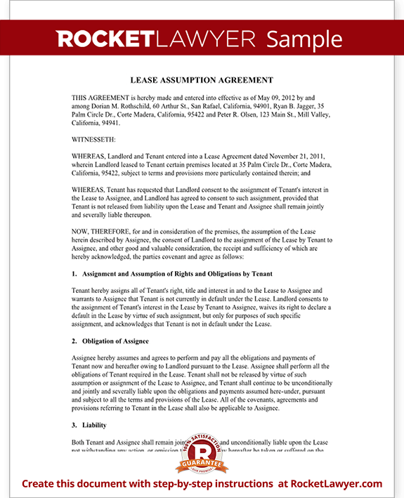 Lease Assumption Agreement Form for Tenant and Rental