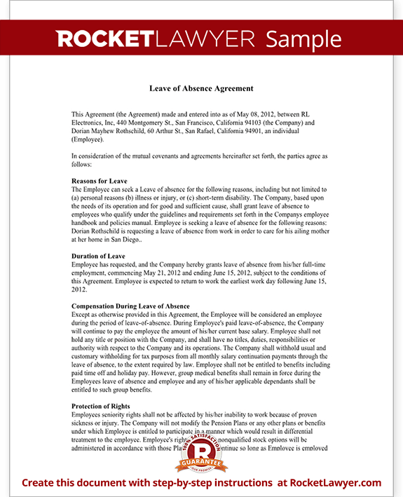 Leave of Absence Letter Agreement Form with Sample