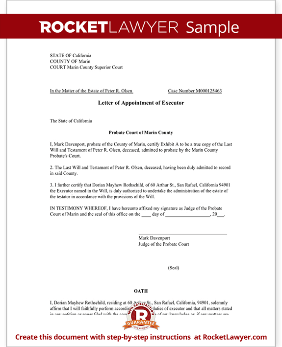letter of appointment of executor (template with sample)