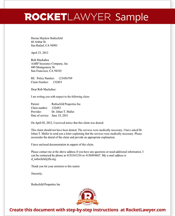 dental insurance appeal letter template