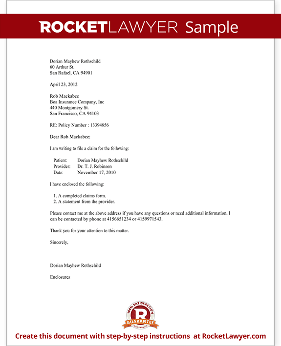 letter to file a medical claim template with sample