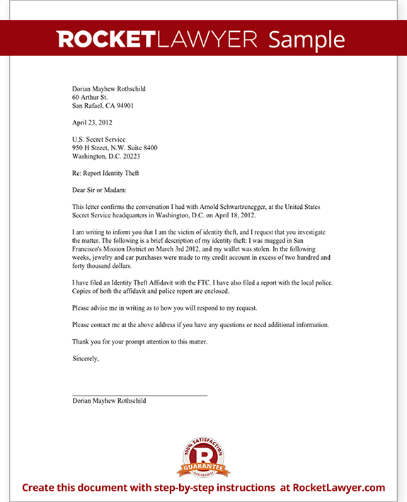 Letter to report an identity theft to the secret service template sample letter to report an identity theft to the secret service form template test spiritdancerdesigns Images
