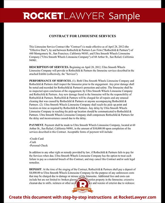 Limousine Service Contract Limousine Service Agreement Form – Service Contract