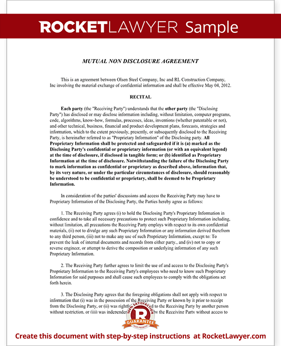Mutual Non Disclosure Agreement Nda Template Mutual Confidentiality