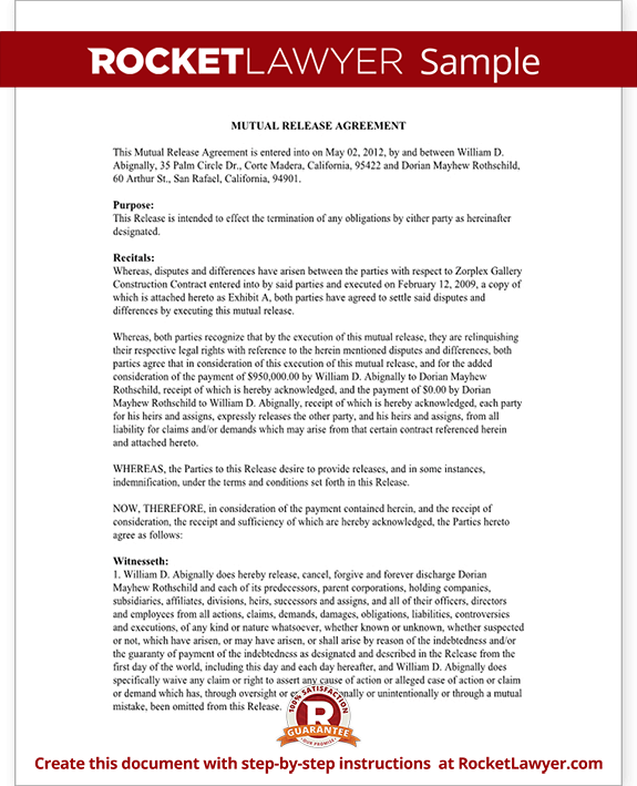Mutual Release Agreement Form Mutual Release And Settlement Agreement