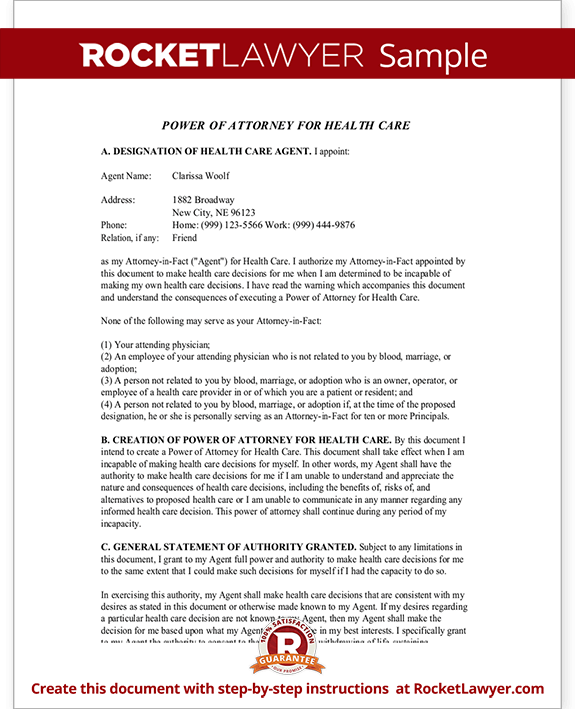 Medical Power Of Attorney Nebraska Ne Health Care Poa Form With