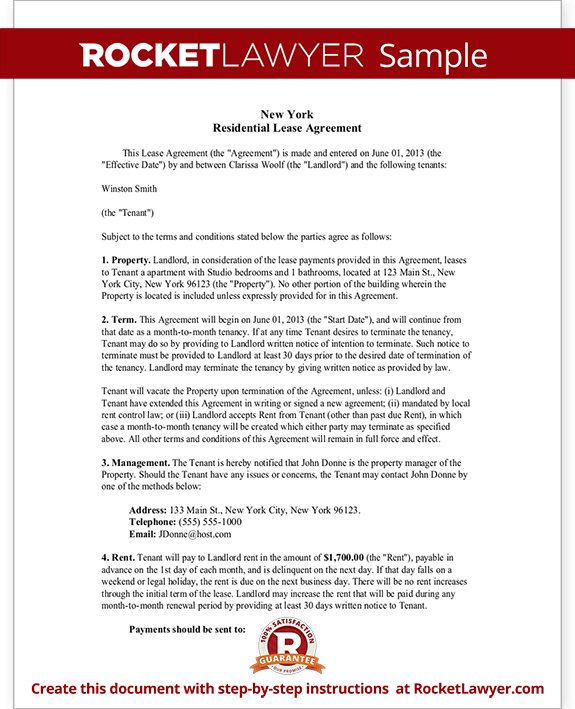 New York Residential Lease Agreement Free Rental Lease Agreement Form