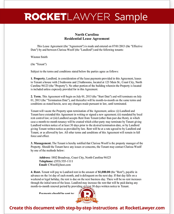 Nc Lease Agreement North Carolina Residential Lease Agreement