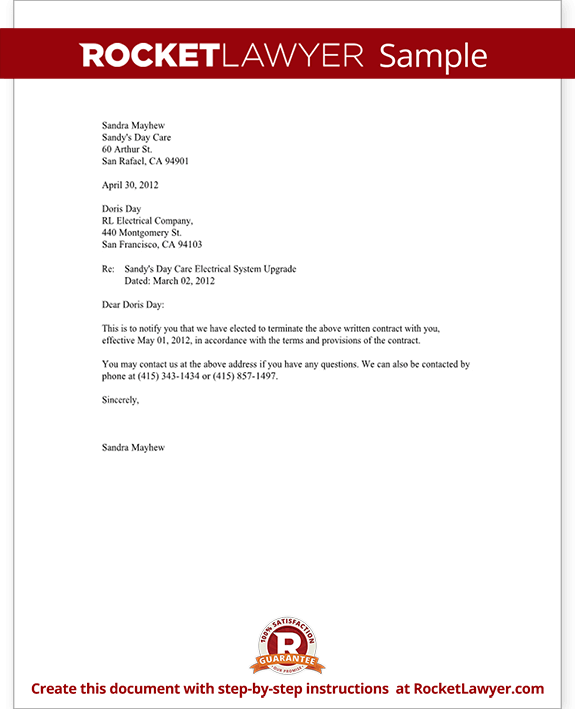 Notice Of Termination Of Contract Notice Letter With Sample