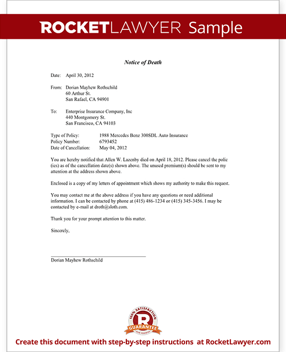 Notice of death to an insurance company letter template with sample spiritdancerdesigns Image collections