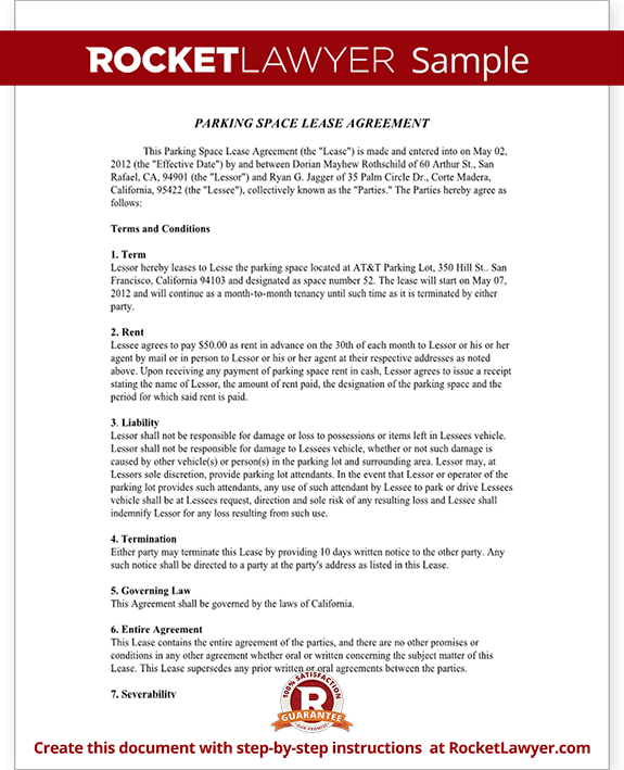 Parking Space Rental Agreement - Parking Lease Template | Rocket ...