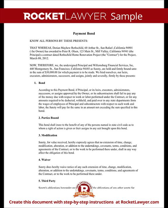 Payment Bond - Surety Bond Form (with Sample)
