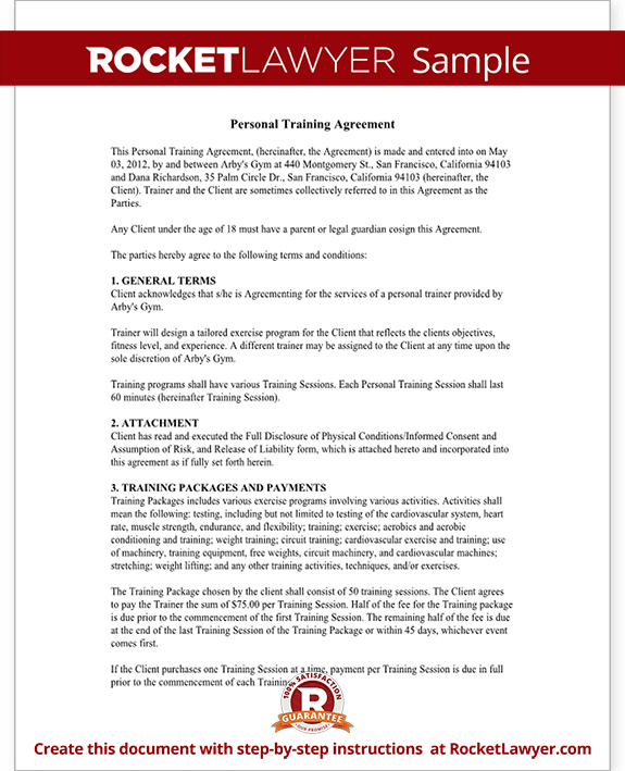 Personal Trainer Forms Personal Training Contract Agreement Template