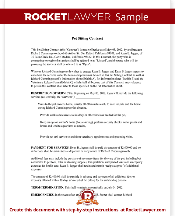 pet sitting contract template service agreement form for pet care