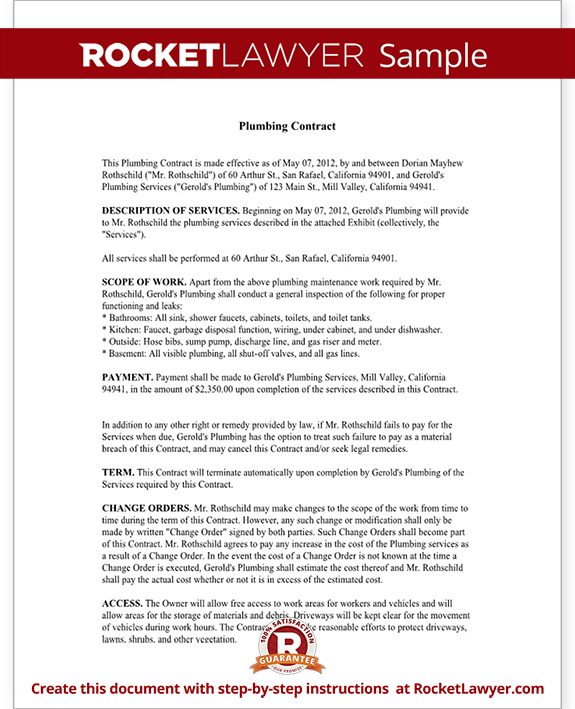 Plumbing Contract Template Independent Contractor Agreement Form
