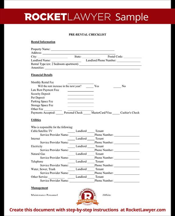 Superb Sample Pre Rental Checklist Form Template Test.