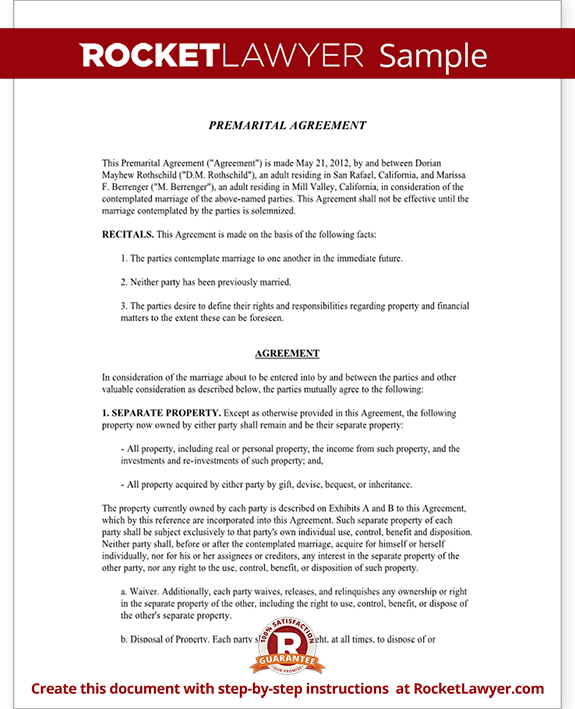 Premarital agreement form with sample for Free prenuptial agreement template canada