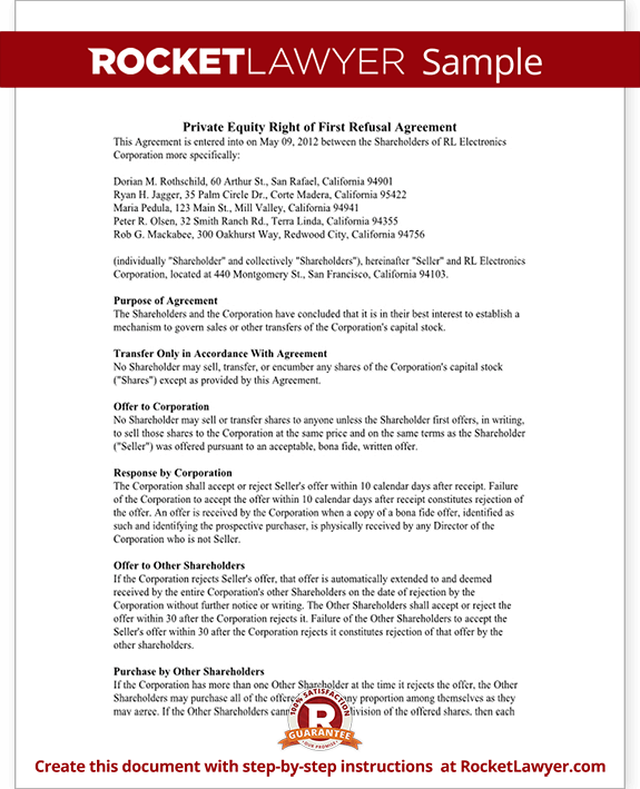 Right Of First Refusal Agreement Form Rocket Lawyer