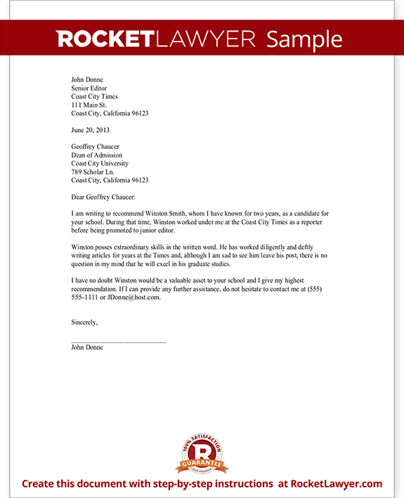 Recommendation Letter - Sample Job Recommendation | Rocket Lawyer