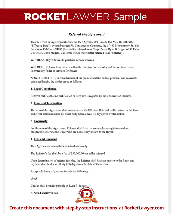Referral Fee Agreement Template Form With Sample