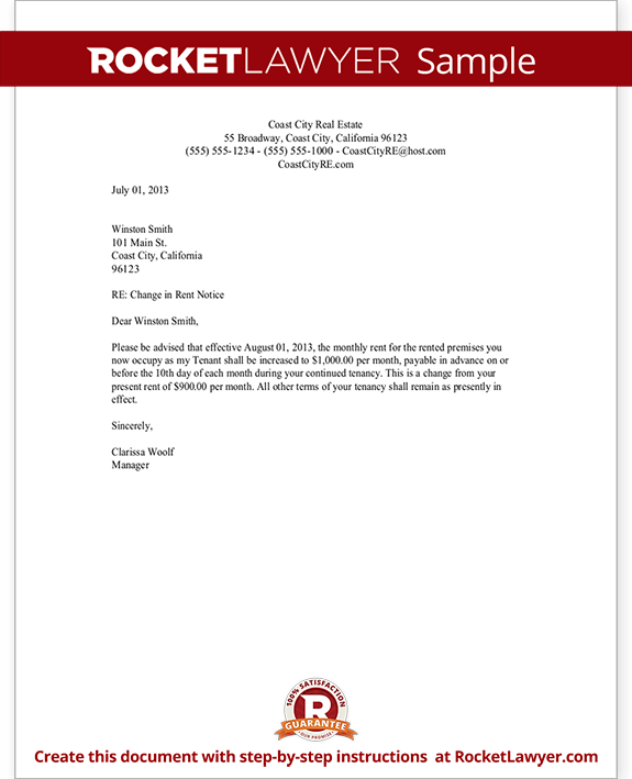 rent increase letter template rent increase notice rocket lawyer