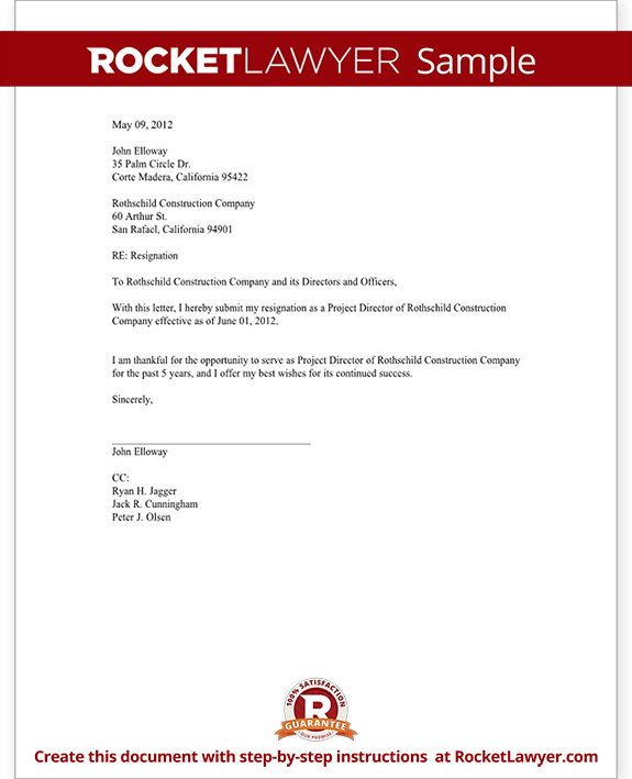 Director resignation letter template with sample resignation of director form template test altavistaventures Gallery