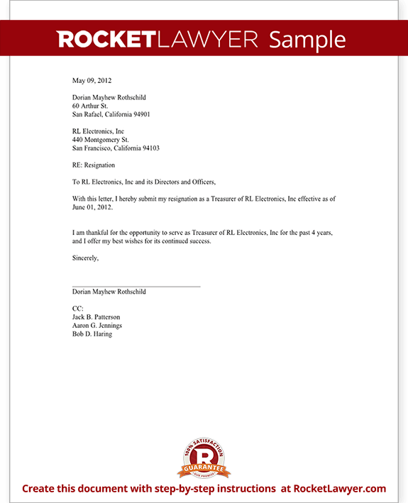 Officer resignation letter ceo cfo etc template with sample expocarfo