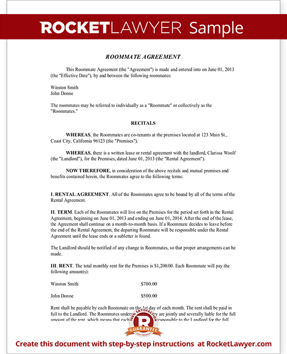 roommate agreement template Roommate Contract - Room Rental Agreement | Rocket Lawyer