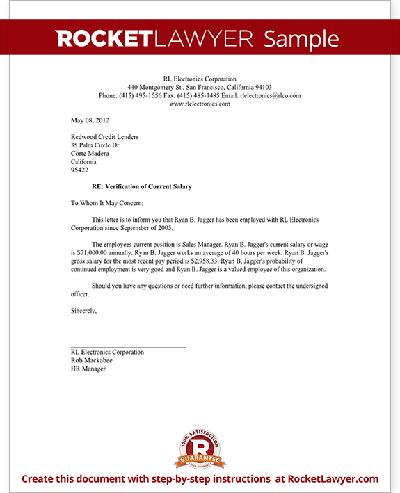 wage verification letter Salary Verification Letter for Proof of Income | Rocket Lawyer