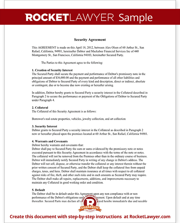 Security Agreement Form Ucc Security Agreement Template With Sample