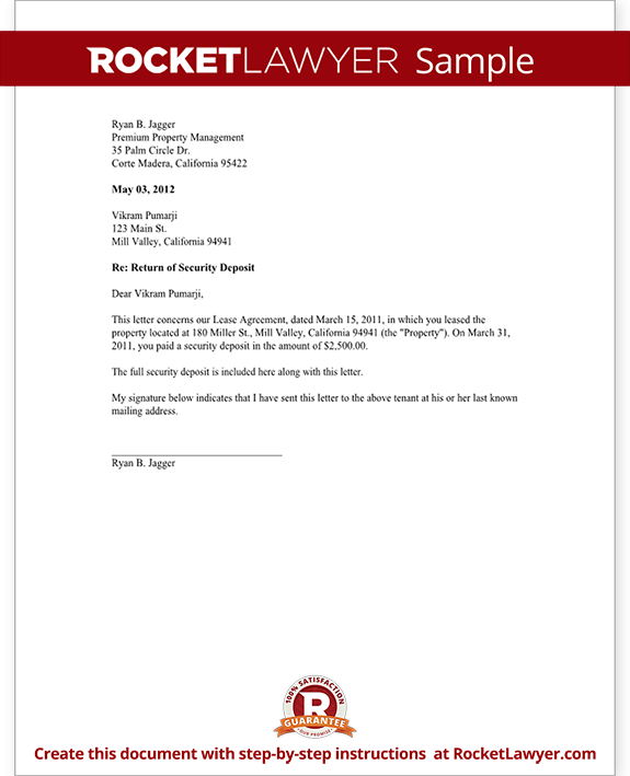 Security Deposit Return Letter Template Landord Return Of Security