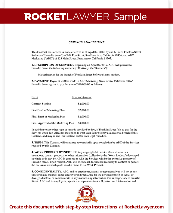 service agreement contract template with sample