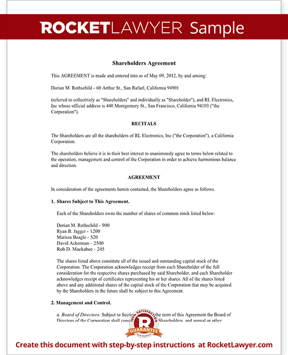 Shareholder Agreement Shareholder Contract Form With Sample