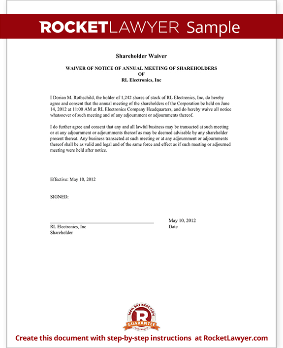 Waiver of Notice of Shareholder Meeting Form Template (with Sample)