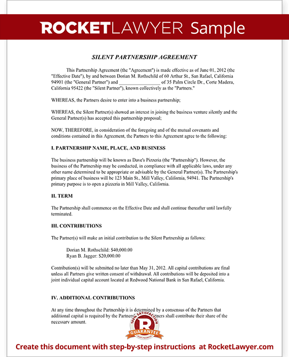 Silent partnership agreement template with sample silent partnership agreement form template test accmission Image collections