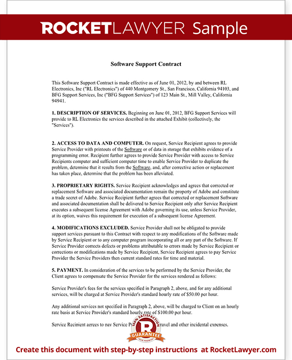 Great Software Support Contract Form Template Test.
