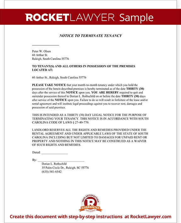 30 day eviction notice letter