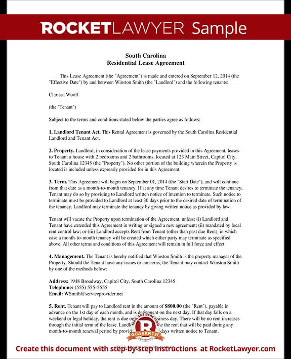South Carolina Lease Agreement