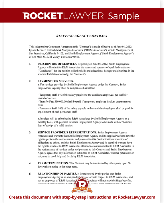 staffing agency agreement staffing agency contract template with sample